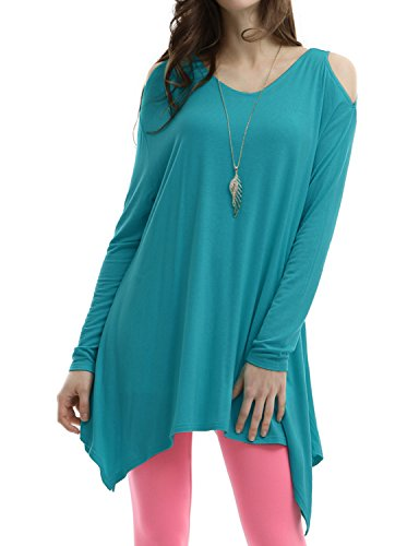 Doublju Womens Long Sleeve blusa shop Teal Bodycon Long T-shirts,M