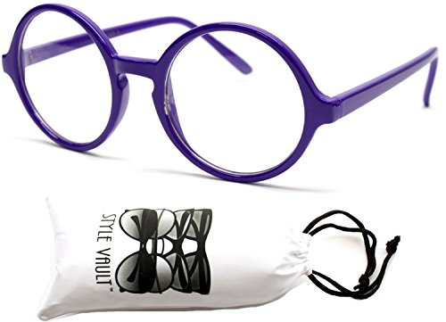 E22-vp Round Clear Lens Sunglasses Glasses (JP Purple-clear, - Sunglasses Jp