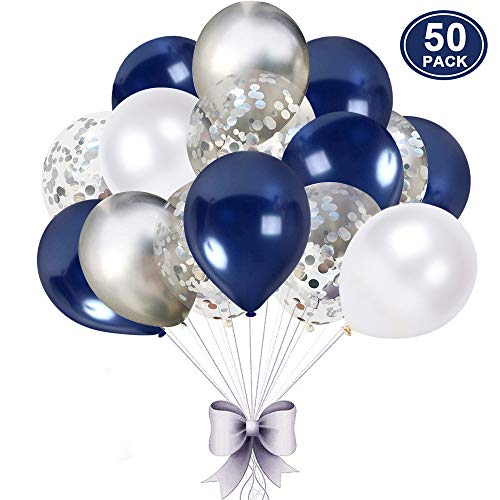 (50 pcs Navy Blue and Silver Confetti Balloons, 12 inch White Pearl and Silver Metallic Party Balloons for Graduation Bachelorette Birthday Decorations )