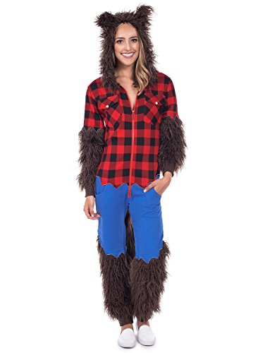 Tipsy Elves Women's Werewolf Halloween Costume - Werewolf Jumpsuit: Large Brown