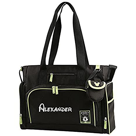 Amazon personalized disney mickey mouse 4 piece black and personalized disney mickey mouse 4 piece black and green baby diaper bag gift set 17 negle Image collections