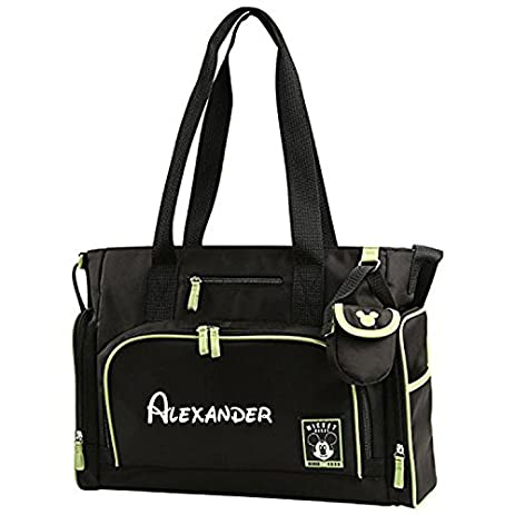 Amazon personalized disney mickey mouse 4 piece black and personalized disney mickey mouse 4 piece black and green baby diaper bag gift set 17 negle Choice Image