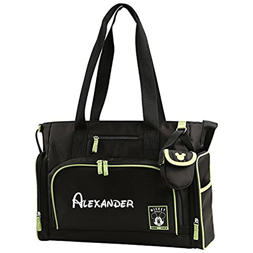 Personalized Disney Mickey Mouse 4 PIECE Black and Green Baby Diaper Bag Gift Set - 17 Inches (Mickey And Cartoon Christmas Pluto)