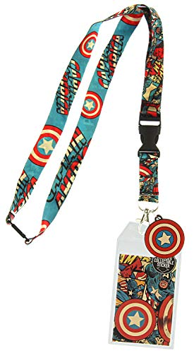 Marvel Captain America Comic and Logo Print Lanyard with Charm and ID Badge Holder