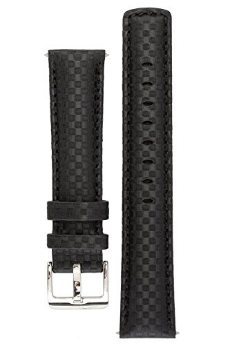signature-carbon-black-24-mm-watch-band-replacement-watch-strap-genuine-leather-silver-buckle