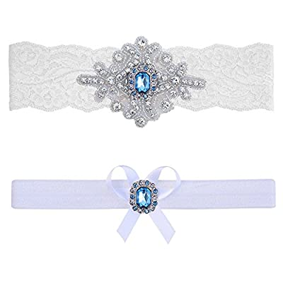 Contessa Garters Wedding Garter Belt Blue Ivory White Lace Bridal Set