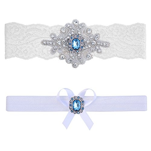 Contessa Garters Blue Topaz Garter Set (XL (22