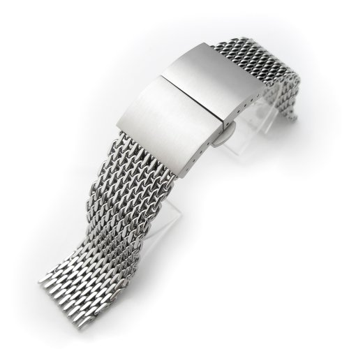 20mm Ploprof 316 SS Wire ''SHARK'' Mesh Milanese Watch Band, Dome Deployant, Polished, BB by 20mm Mesh Band