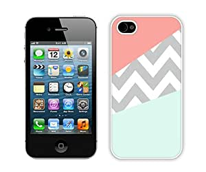 Case Coral Mint Grey Chevron White Durable Hard Shell iPhone 4S Phone Case