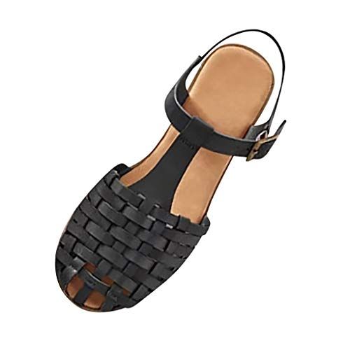 Women Fashion Woven Sandals Closed Toe T Strap Slingback Vintage Ankle Strap Buckle Flat Sandals by Lowprofile Black