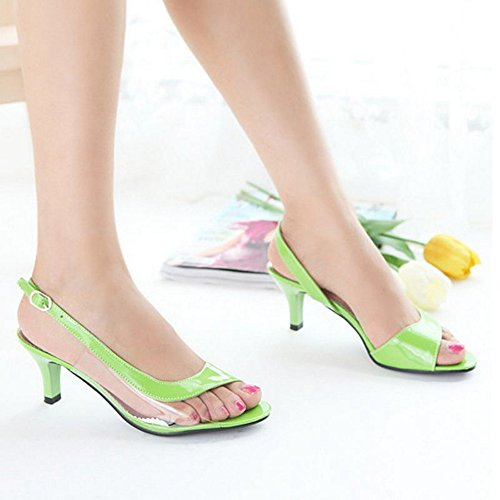 SJJH Sandals with Kitten Heel and Open Toe Working Sandals for Office Ladies Green AQBo4y