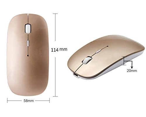 Rechargeable Wireless Mouse, Mute Silent Click Mini Noiseless Optical Mice for PC, Laptop, Computer