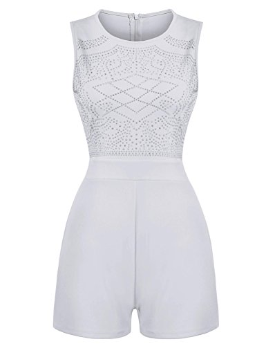 ELESOL Women Rhinestone Embellished High Waist A Line Pant Romper (Studded Jumpsuit)