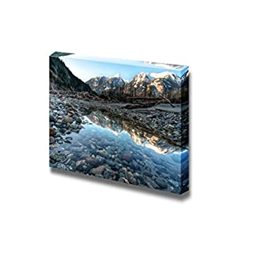 Canvas Prints Wall Art - River Side Pool Contains Perfect Mountain Reflect| Modern Home Deoration/Wall Art Giclee Printing Wrapped Canvas Art Ready to Hang - 24