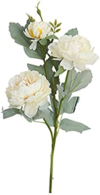 Amazon Com Artificial Peony Flower Bridal Bouquets Floral 1 Pc Diy Bonsai Real Looking With Plastic Silk Flowers Arrangements Real Touch Faux Flower For Home Office Garden Wedding Party Decoration White Home