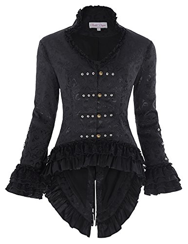 Steampunk Jacket Womens (Belle Poque Womens Black Victorian Steampunk Tail Jacket M)