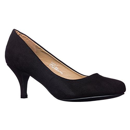 Riverberry Women's Ruby Round Toe, Kitten Low Height Pump Heels, Black Suede, 8