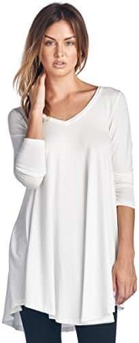 Popana Women's Tunic Tops For Leggings - Long Sleeve Vneck Shirt - Regular and Plus Size - Made in USA