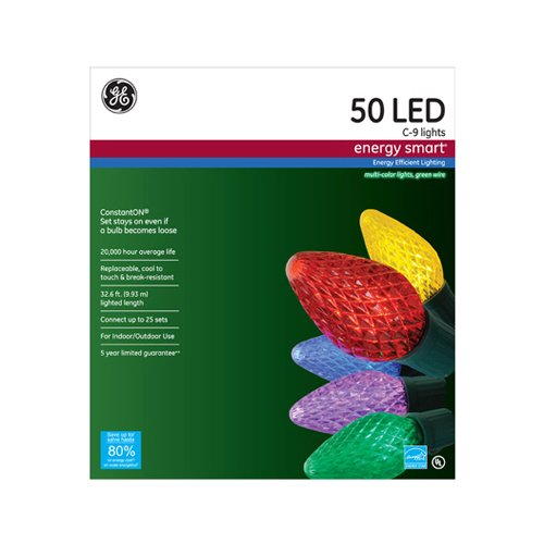 50 Ct Multi Color Led C9 Christmas Lights in US - 7