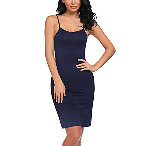 New Ladies Women Casual Sexy Strap Slip Sleeveless V Neck Solid Home Bottoming Straight Dress Size S-2XL Long Blue - New Images Pakistani