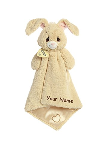 Aurora Personalized Precious Moments Baby Floppy Bunny Luvster Plush Blanket with Heart for Baby Boy or Baby Girl - 16 Inches ()
