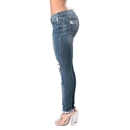 del Los elástico Go de de Easy Navy lápiz Boutique Agujero del Colores Blue Mujeres Shopping Vaqueros Pantalones Las Dos del del algodón Pw7E7xqF