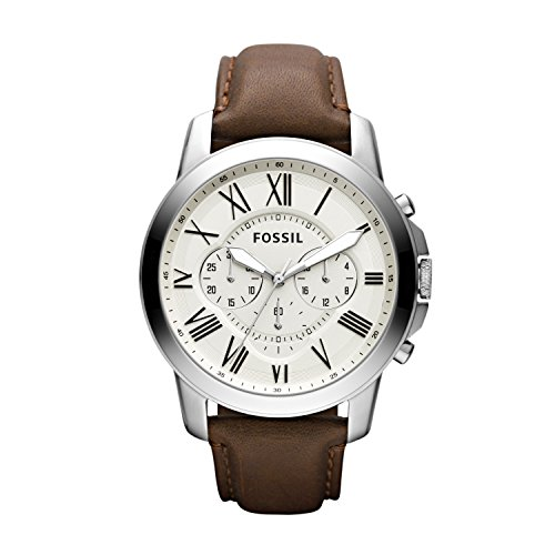 Fossil Men's Grant Quartz Stainless Steel and leather Dress Watch Color: Silver, Brown (Model: FS4735IE) (Mens Dial Fossil White Silver)