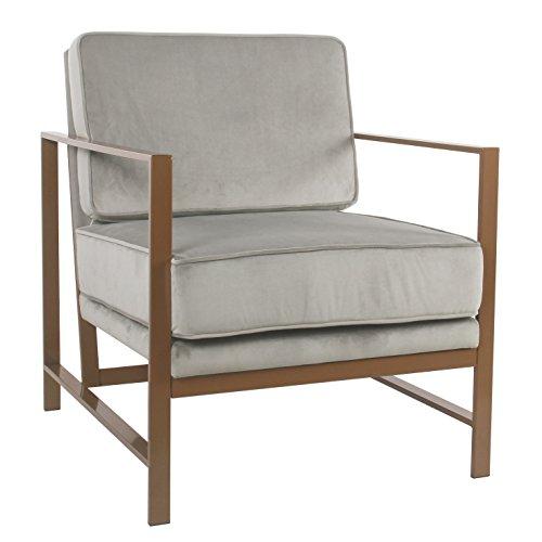 Spatial Order Hudson Modern Velvet Accent Chair Metal Frame, Gray
