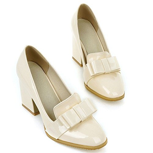 LongFengMa Classic Ladies Block High Heel Court Shoes With Bow Beige 0LDn1fYdB