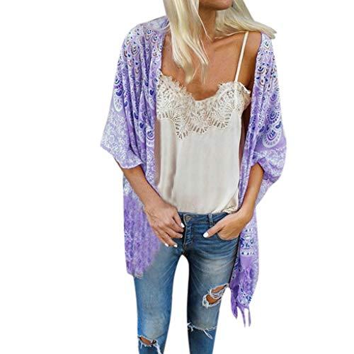 Women Boho Vintage Floral Tassel Shirt Half Sleeve Loose Shawl Kimono Cardigan Chiffon Coat Jacket Blouse Vacation Beach Tops Purple