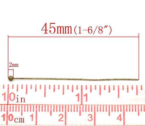 0.5mm Mercury/_Group Gauge Long Homemade Jewelry/_ Copper Ball Head Pins Antique Bronze 4.5cm 1 6//8 30 Pieces