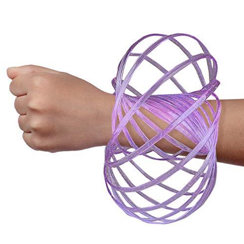 Digital Energy DE Kinetic Arm Toy - Magic 3D Shaped Flow Ring for Kids & Adults, Purple (Glitter)