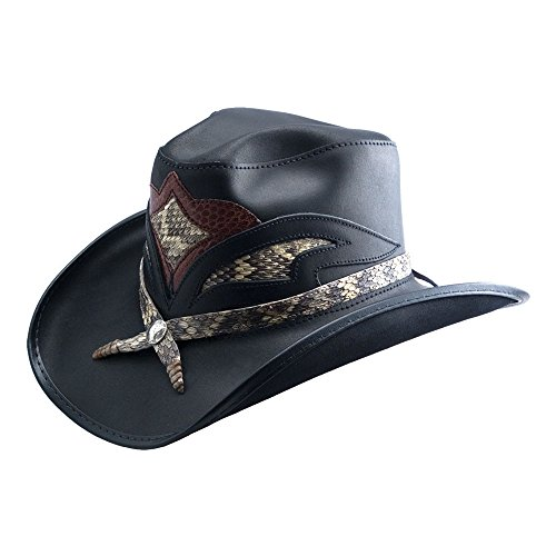Rattlesnake Hat - American Hat Makers Storm by Double G Hats Cowboy Leather Hat, Black Finished - Large
