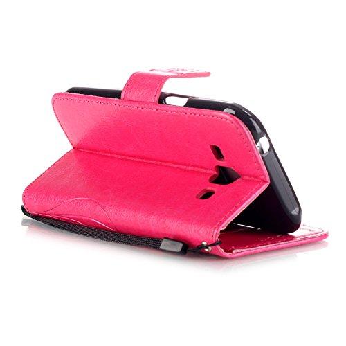 SRY-Funda móvil Samsung Funda Samsung Galaxy J1, funda de cuero de la PU, caso del soporte de la caja plegable de la caja de la correa del diseño del libro de la resina del Rhinestone para Samsung Gal Rose Red