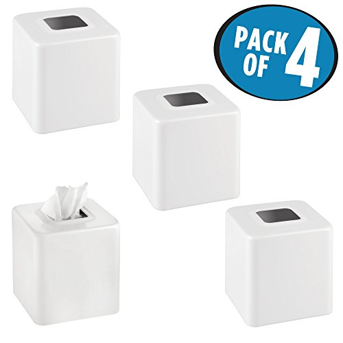 mDesign Square Paper Facial Tissue Box Cover Holder for Bathroom Vanity Countertops, Bedroom Dressers, Night Stands, Desks and Tables - Pack of 4, Steel, Matte White by mDesign