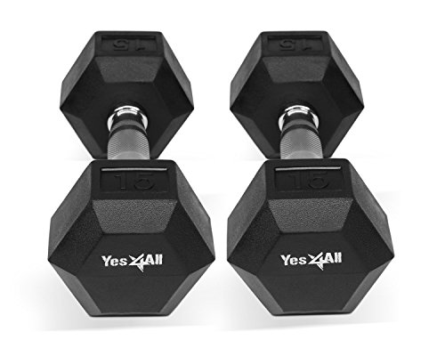 InfiDeals YES4ALL INFIDEALS DELUXE RUBBER COATED HEX DUMBBELLS - SOLD IN PAIR (Black - 15 lbs. (Pair))