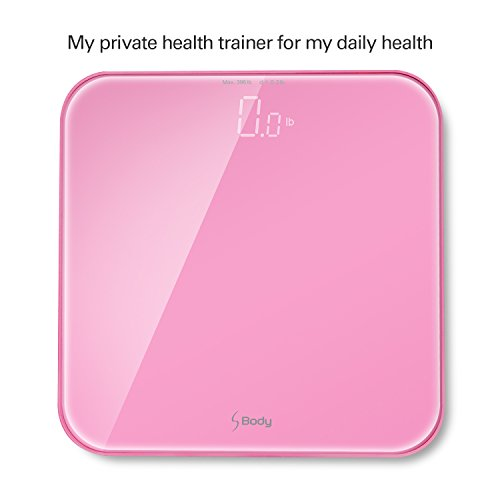 """S Body High Precision Ultra Wide Digital Body Weight Bathroom Scale up to 396lb/180kg, Super-Clear Large LED Display, """"Step-On"""" Technology, Pink"""