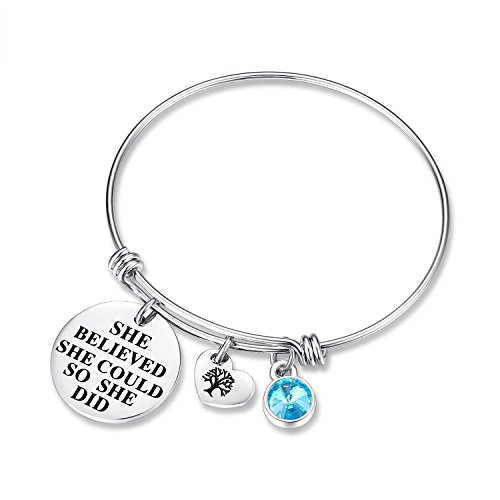 March Birthstone Charm Bracelet - She Believed She Could So She Did Bracelets, Birthday Jewelry Gifts Heart Tree of Life for women girls her mom mother daughter wife sister friendship (Aquamarine)