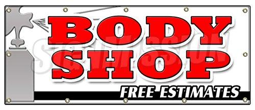 "UPC 718088518675, 48""x120"" BODY SHOP FREE ESTIMATES BANNER SIGN collision repair insurance paint"