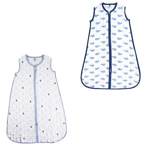 pretty nice 9c9c9 382ea Hudson Baby Boy and Girl Muslin Sleeping Bag 2 Pack, Blue ...