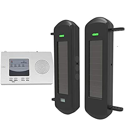 HTZSAFE Solar Wireless Driveway Alarm System-1/2 Mile Long Transmission Range-300 Feet Wide Sensor Range-No Wiring No Need Replace Battery-Outdoor Weatherproof Security Perimeter Alert System KIT