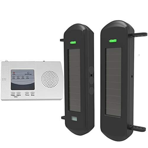 HTZSAFE Solar Wireless Driveway Alarm System-1/2 Mile Long Transmission Range-300 Feet Wide Sensor Range-No Wiring No Need Replace Battery-Outdoor Weatherproof Security Perimeter Alert System KIT (Perimeter Sensor)