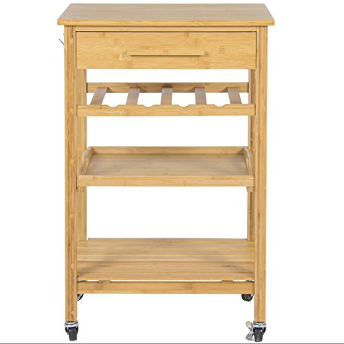 Eight24hours Rolling Wood Kitchen Storage Cart Rack With Drawer & Shelves Home Furniture by Eight24hours (Image #1)