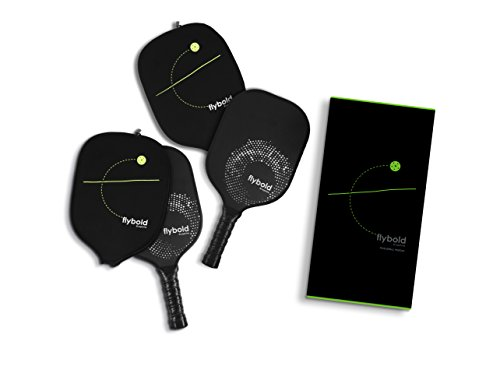flybold Pickleball Paddle Set of 2 Graphite Face Polymer Honeycomb Core Ultra Cushion Grip Low Profile Edge Guard Perfect Grip Size Light Weight Pickle Ball Racket with Neoprene Case Cover (2)
