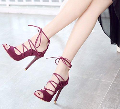 Minetom Mujer Verano Zapatos de Cordones Gladiator Lace-up Sandals Moda Trabajo Zapatos de Tacón Stiletto Sandalias de Tacón Rojo