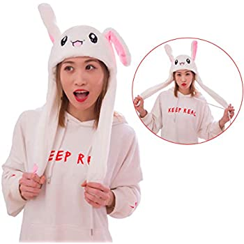 IronBuddy Rabbit Hat Ear Moving Jumping Hat Funny Bunny Plush Hat Cap for  Women Girls c6b3c33d26ee
