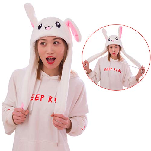 Ear Moving Jumping Hat Funny Bunny Plush Hat Cap for Women Girls, Winter Spring Warm Hat (White) ()
