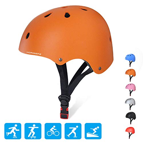 (KORIMEFA Kids/Teen/Adult Bike Helmet Toddler Helmet Adjustable Kids Helmet CPSC Certified Multi-Sport Safety Cycling Skateboard Scooter Helmet, Orange M)