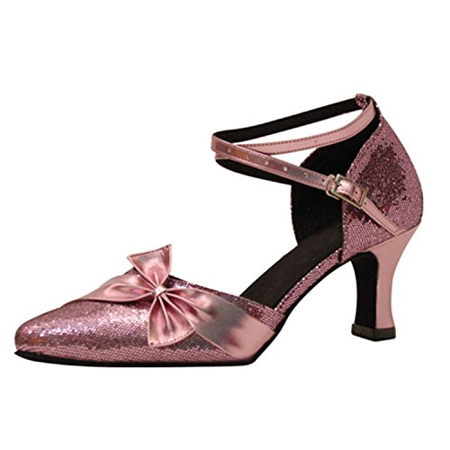 LEIT YFF Cadeaux Femmes Dance Danse Danse Latine Dance Tango Chaussures 7CM,Pink,38