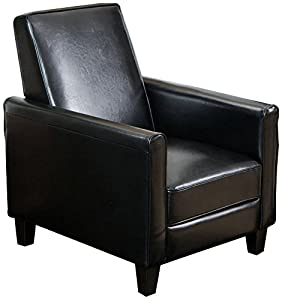 Black chair with straight sides and thin profile